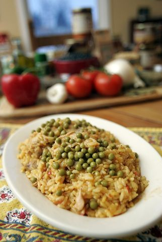 Arrozo con Pollo, or chicken with rice, gets a start with Old Havana Foods's seasoned, sauteed vegetables, or sofrito.