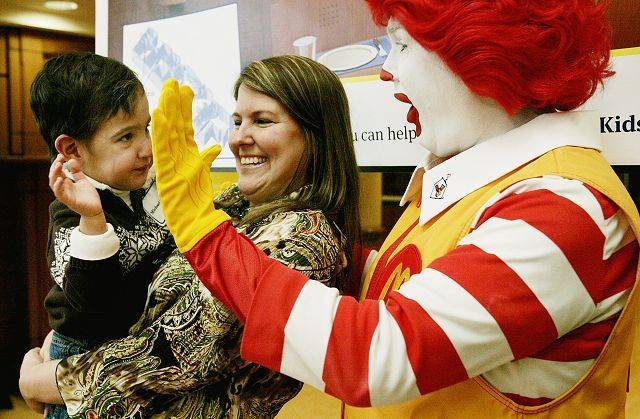 Michael Gillespie, 2, of Plainfield, was at Naperville's Edward Hospital Tuesday to celebrate the announcement of the new Ronald McDonald Family Room set to open in early 2012.