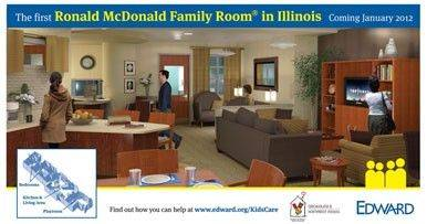 The nearly 2,000 square-foot Ronald McDonald Family Room will include a living area, kitchen and Internet access.