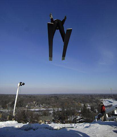 Trevor Edlund, 12, of Minnesota flies off the 150-foot jump during the 105th annual winter ski jumping event at Norge Ski Club in Fox River Grove. This year's tournament is set for Saturday and Sunday and will feature competitors from around the world.