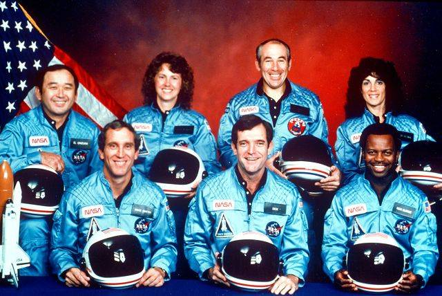 The crew of the space shuttle Challenger. From left are Ellison Onizuka, Mike Smith, Christa McAuliffe, Dick Scobee, Greg Jarvis, Ron McNair and Judith Resnik.