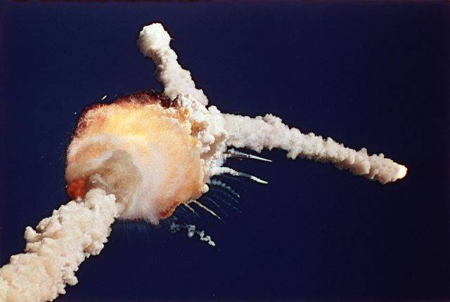 The space shuttle Challenger explodes shortly after lifting off from the Kennedy Space Center in Cape Canaveral, Fla.