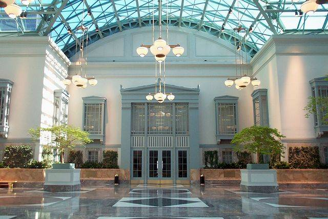 Winter garden at the Harold Washington Library.