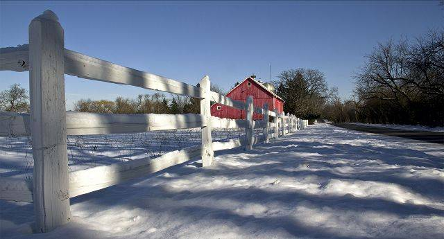 This photo was taken in Barrington Hills. I love old barns and fences. My eye was caught while driving by the long shadows on the snow and had to pull over to snap a few pictures.