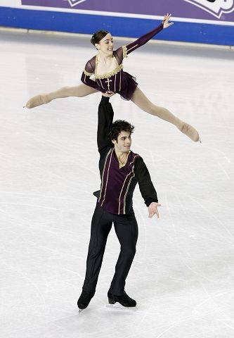 Mary Beth Marley of Downers Grove and Rockne Brubaker of Algonquin perform during the pairs short program in the U.S. Figure Skating Championships in Greensboro, N.C., Thursday. They stand in third place heading into Saturday's Free Skate finals.