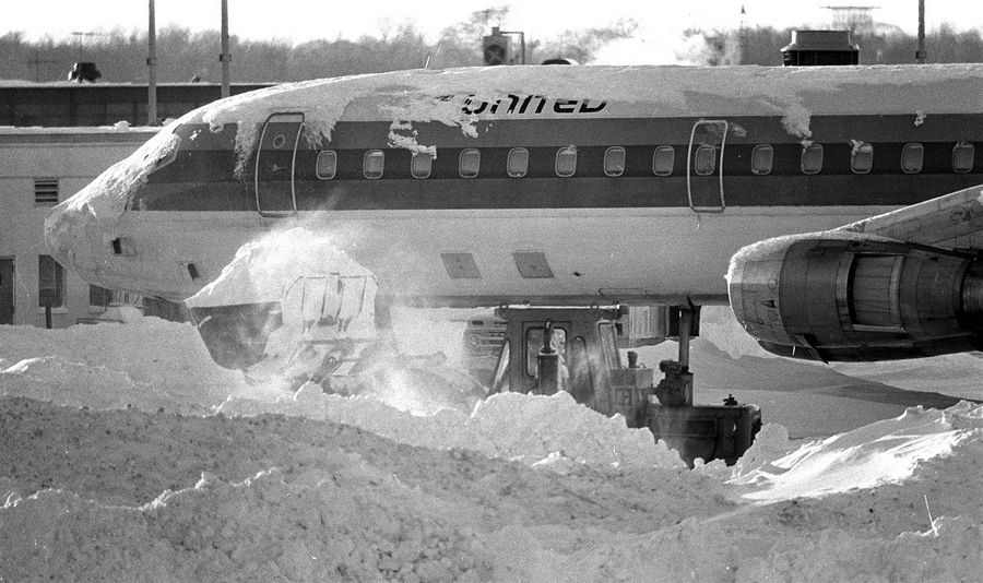 Planes at O'Hare were buried in the blizzard of 1979 when 16.5 inches of snow fell in one day on Jan. 13. We're expected to get 20 inches starting Tuesday night.