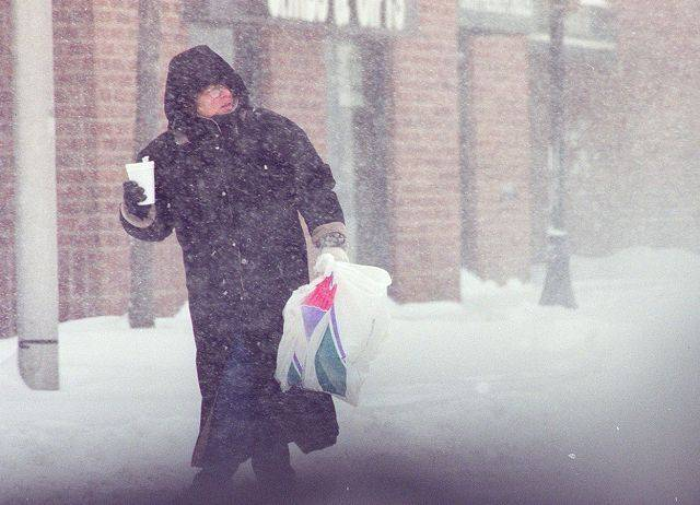 Walking down Campbell Street in Arlington Heights during the blizzard of 1999.