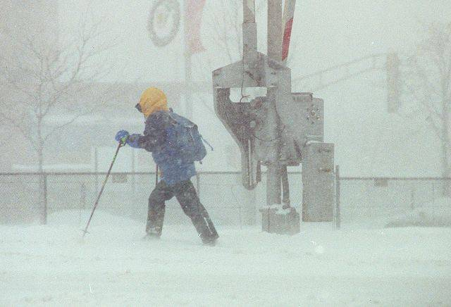 Getting around in Arlington Heights during the blizzard of 1999.