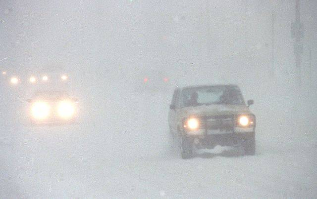 Whiteout conditions in Libertyville during the blizzard of 1999.