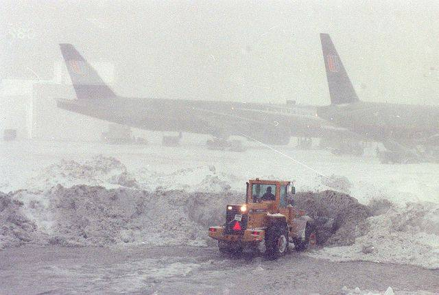 Snow removal at O'Hare Airport during the blizzard of 1999.