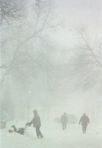 Digging out from the during the blizzard of 1999.