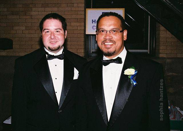 Buffalo Grove native and gay right activist Michael Spivak, left, meets with his Minnesota Congressman Keith Ellison during a recent fundraiser for a civil rights charity.