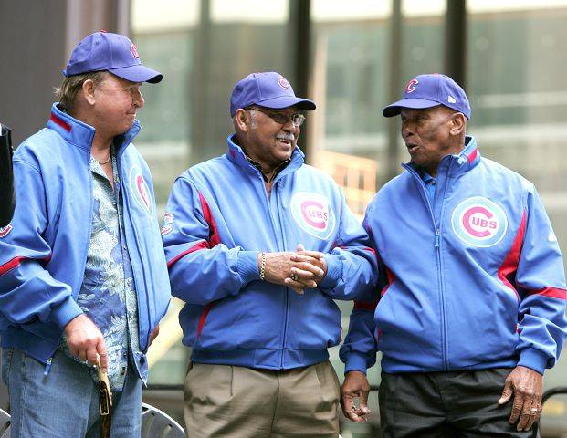 Cubs legends Ron Santo, Billy Williams and Ernie Banks make their presence at the Cubs Rally in 2007.