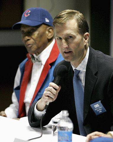 In this photo provided by the Chicago Board Options Exchange, Chicago Cubs chairman Crane Kenney, right, and hall-of-famer Ernie Banks speak during a news conference at the CBOE, Monday, March 3, 2008, in Chicago.