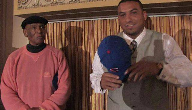 Cubs pitcher Carlos Zambrano and Ernie Banks at the 2008 Cubs Convention.
