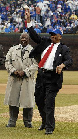 Opening Day 2008, and Ernie banks throws out the first pitch with Hank Aaron looking on.