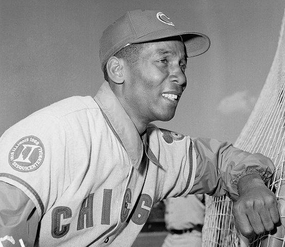 Ernie Banks Infielder for the Chicago Cubs shown in April 1969.