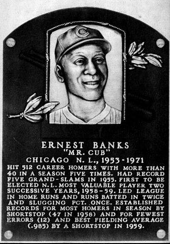 "Plaque of Ernie Banks, ""Mr. Cub,"" on display at the Baseball Hall of Fame in Cooperstown, NY."