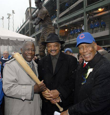 Hank Aaron, Jessie Jackson, and Ernie Banks at the presentation of the Ernie Banks statue on Opening Day 2008.