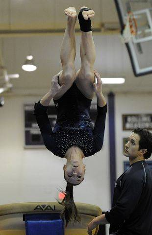 Prospect's Gianna Scala takes performs on the vault during the gymnastics meet Friday.