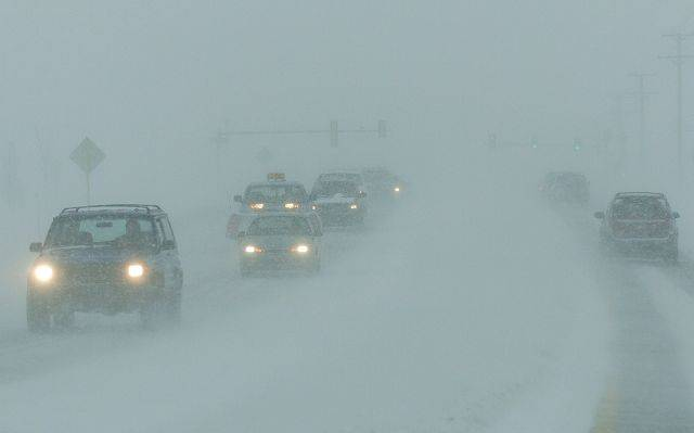 White-out conditions along Rt. 120 west of Hainesville.