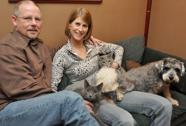 Kidney donor Brenda Bogue had the support of her family: her husband Mike, her two cats, Norton and Roxy, her two dogs, Bixby and Timmie, as well as her parents and her sister.