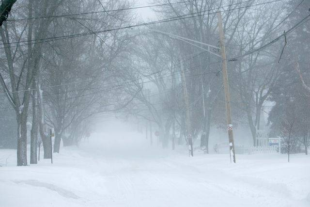 Snow covers North Edison Street in Elgin Wednesday morning.