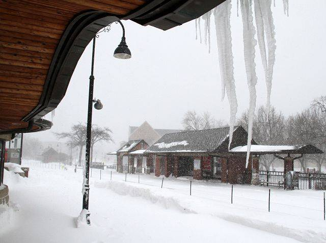 The Glenview Metro train station was empty Wednesday morning as they were operating on a modified schedule because of the storm.