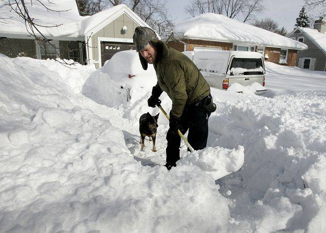Gilbert R. Boucher II/gboucher@dailyherald.comScott Jansen of Libertyville digs out his drivewayafter the blizzard hit the area Wednesday in Lake County. His dog Erma watches him work.