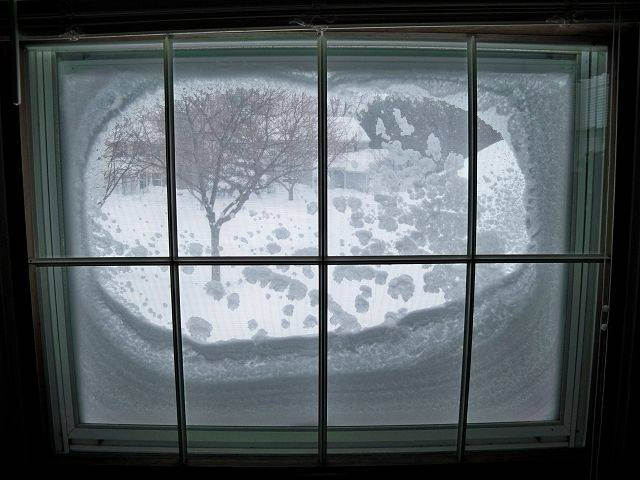 Karen Olson of St. Charles says her house faces east and with the winds swirling off Lake Michigan in a north-easterly direction, the snow stuck to the window creating this porthole effect.