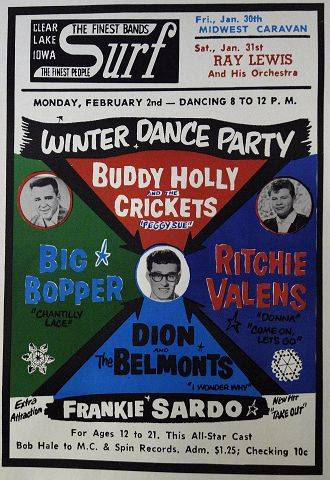 Former disc jockey Bob Hale displays a reproduction poster for the Winter Dance Party concert where Buddy Holly played his last gig.