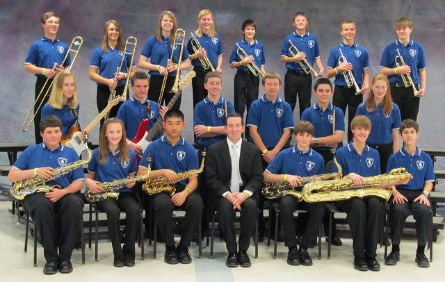The Walter R. Sundling Junior High Jazz Band with director Jeff Zilke.