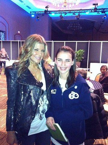 Ava Childs of Glen Ellyn with singer Fergie from the Black Eyed Peas.