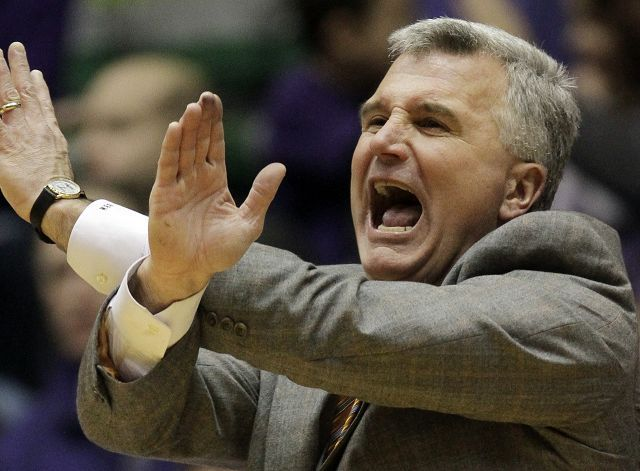 Illinois head coach Bruce Weber yells his team Saturday as it falls behind early against Northwestern in Evanston. Northwestern held on for a 71-70 win as Illinois fell to 1-8 in games decided in the final minute.