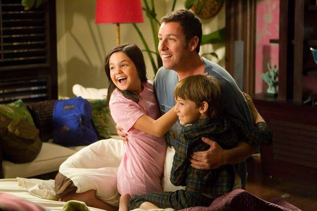 "Danny (Adam Sandler) rents two kids (Bailee Madison and Griffin Gluck) to be his children in the rom-com ""Just Go With It."""