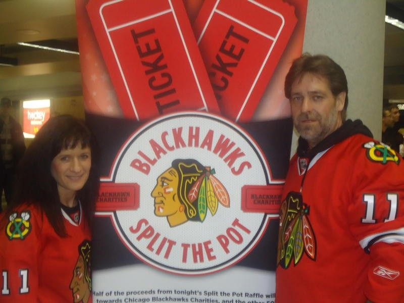 "Forte and Sickler reunited through Facebook 30 years after their split and here wear Blackhawks jerseys marked with ""11"" to mark their Nov. 11, 2011, wedding date."