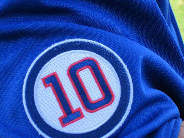 Cubs catcher Koyie Hill stopped long enough so we could get a closer look at the No. 10 patch Cubs players are wearing this season to honor the late Ron Santo.