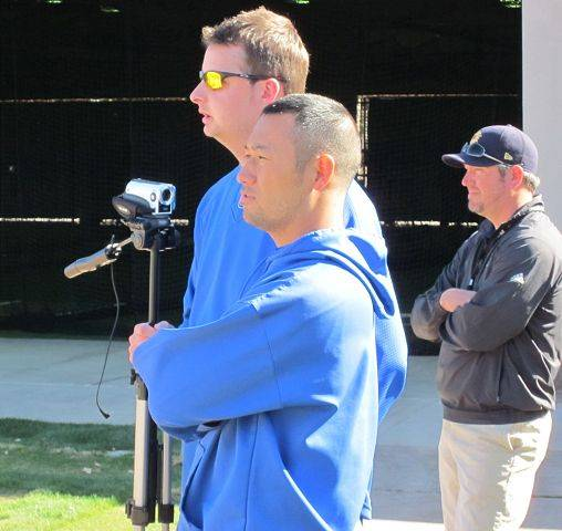 Cubs staff members are using video to help with bullpen sessions in training camp this spring. Pitching coach Mark Riggins also has a new routine with regard to the bullpen sessions.
