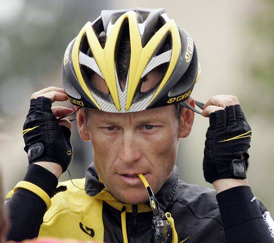 Lance Armstrong preparing for the final stage of the Tour of California cycling race in Rancho Bernardo, Calif. in 2009.