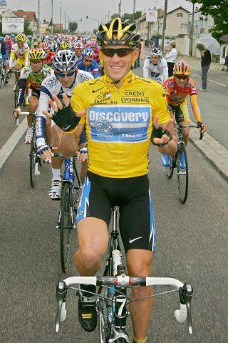 "Lance Armstrong signals seven for his seventh straight win in the Tour de France cycling race, as he pedals during the 21st and final stage of the race between Corbeil-Essonnes, south of Paris, and the French capital in 2005. Armstrong is getting back on his bike, determined to win an eighth Tour de France. The Tour ""is the intention,"" Armstrong's spokesman Mark Higgins said at the time, ""but we've got some homework to do over there."""