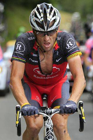 Lance Armstrong rides towards Pau during the 16th stage of the Tour de France cycling race in 2010.
