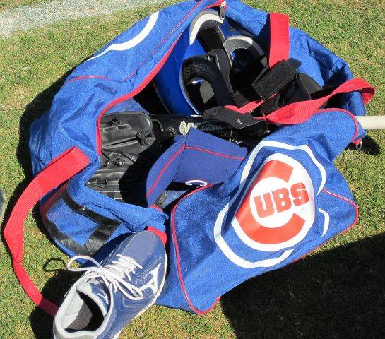 Cubs baseball equipment.