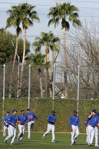 Chicago Cubs pitchers and coaches warm up with palm trees in the background during baseball spring training Wednesday, Feb. 16, 2011, in Mesa, Ariz.