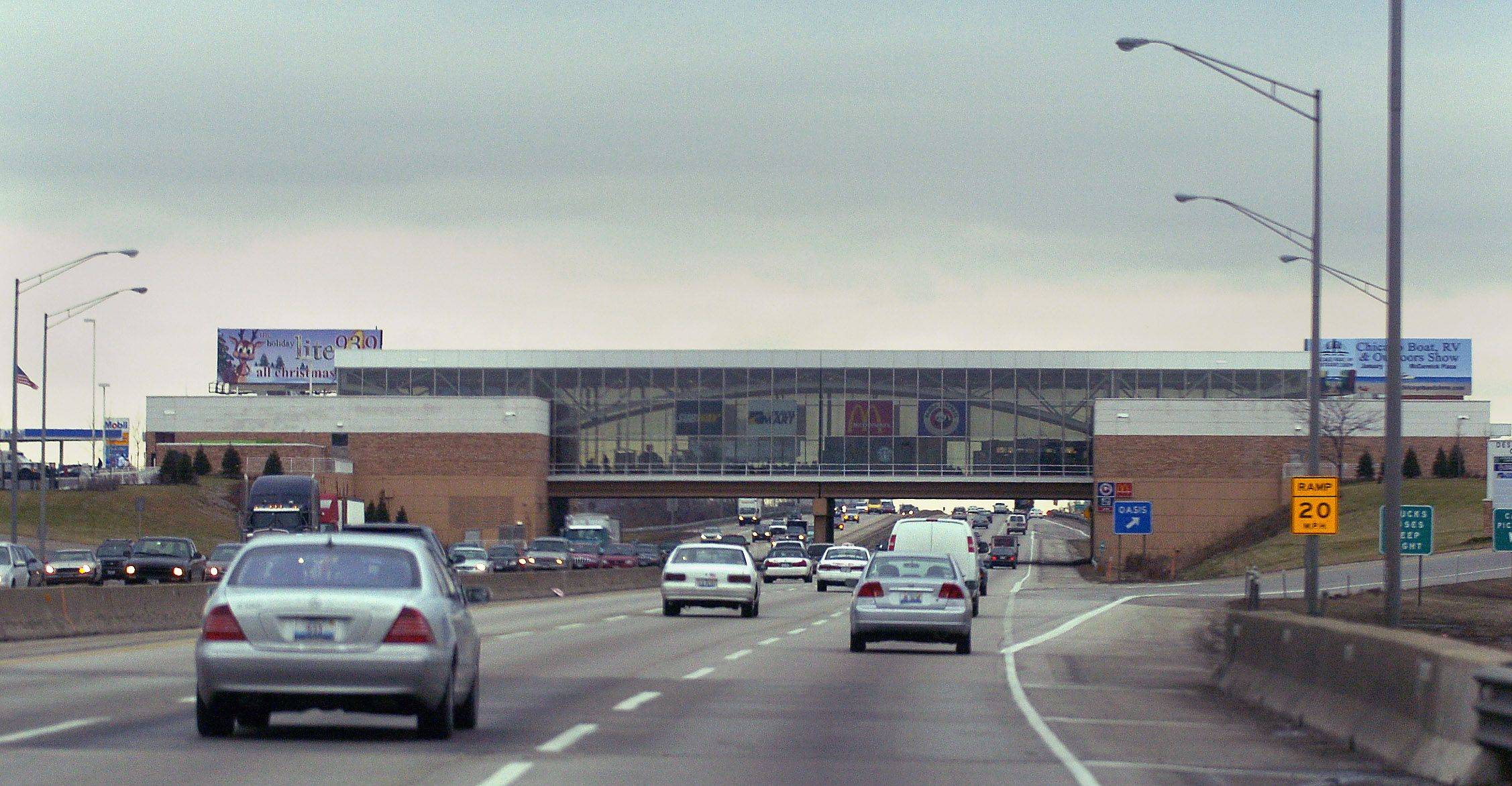 Traffic Passes Under The Des Plaines Oasis On Interstate