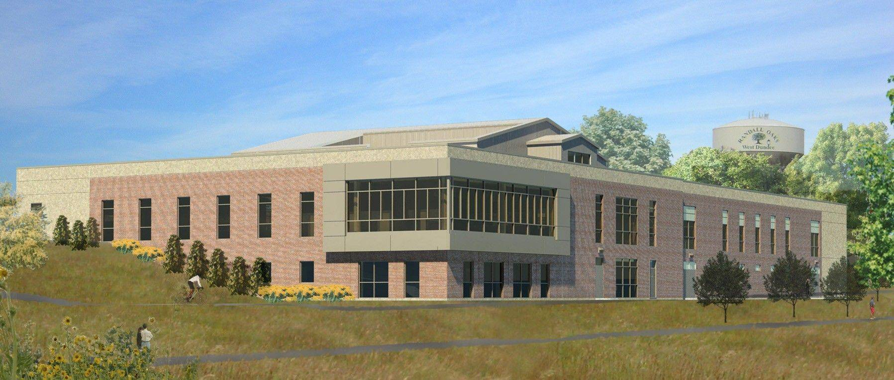 A rendering of the new Dundee Township Park District's $13.2 million recreation center that will be build on Randall Road, near Route 72. The district is in negotiations to lease a portion of the 47,000-square-foot building to the Dundee Township Library District.