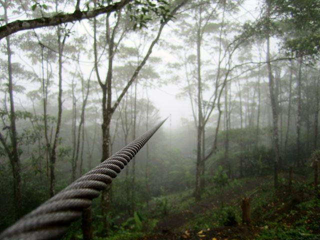 A zip line disappears into the fog of the Costa Rican forest last month.