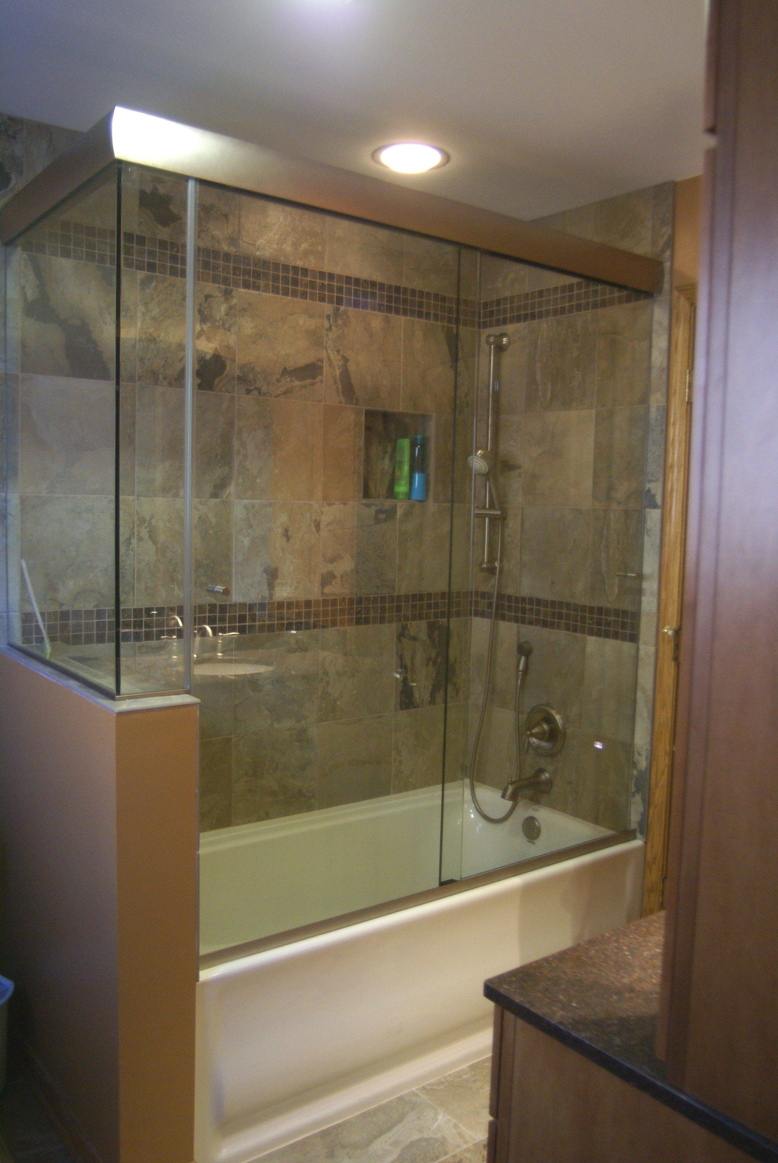 A glass shower enclosure can make a bathroom feel larger in the same amount of space.