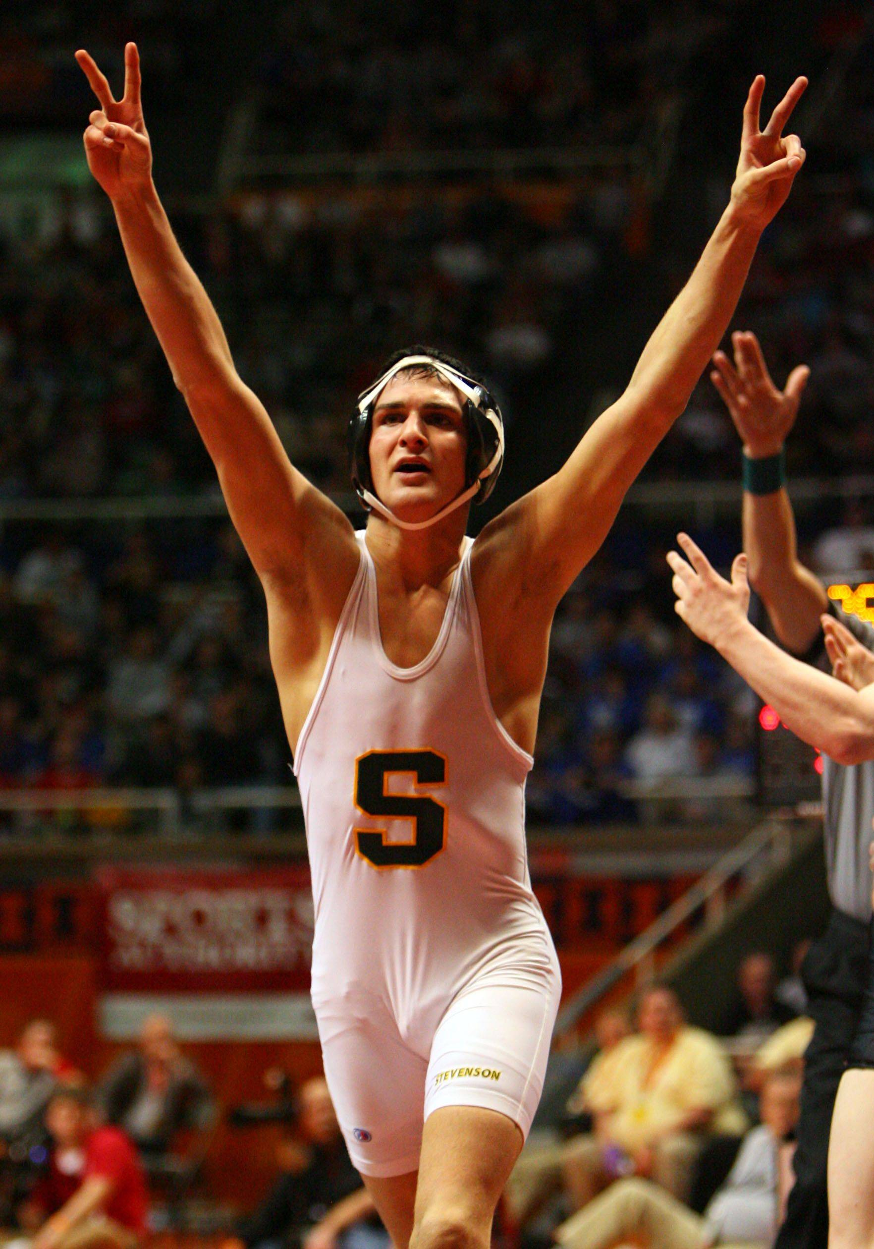 Stevenson's Danny Sabatello wins the championship at 125 pounds during state wrestling finals Saturday in Champaign.