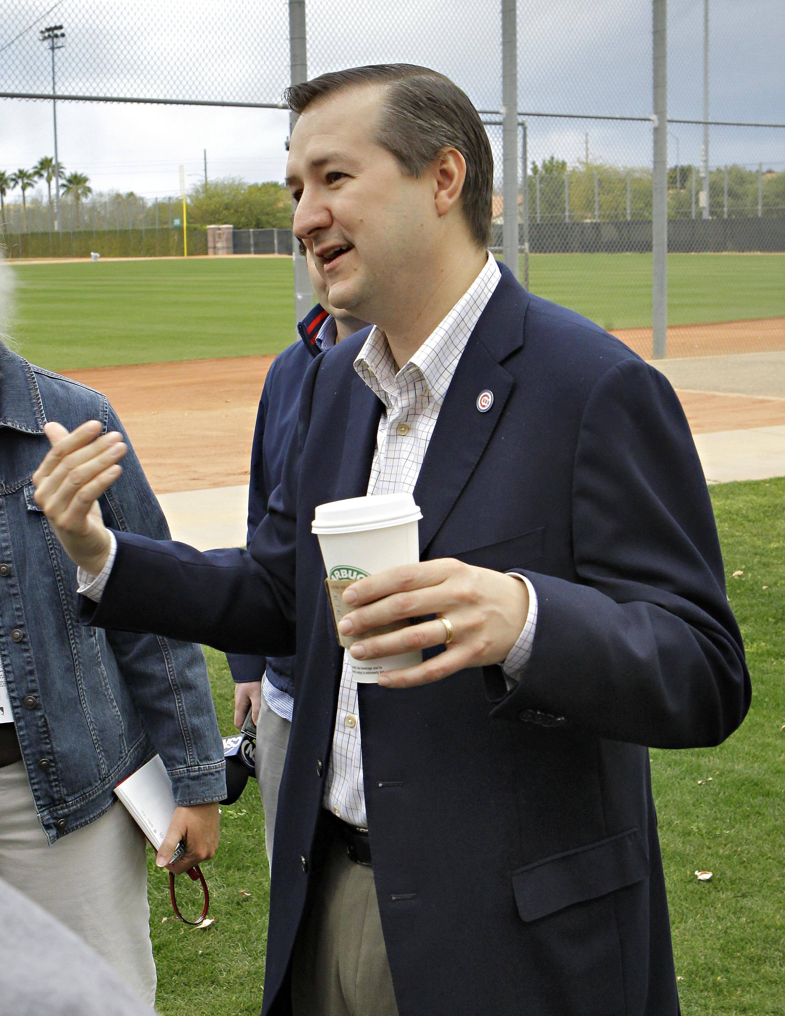 Chicago Cubs owner Tom Ricketts talks with the media Saturday, Feb. 19, 2011 at the Cubs' baseball spring training facility in Mesa, Ariz.