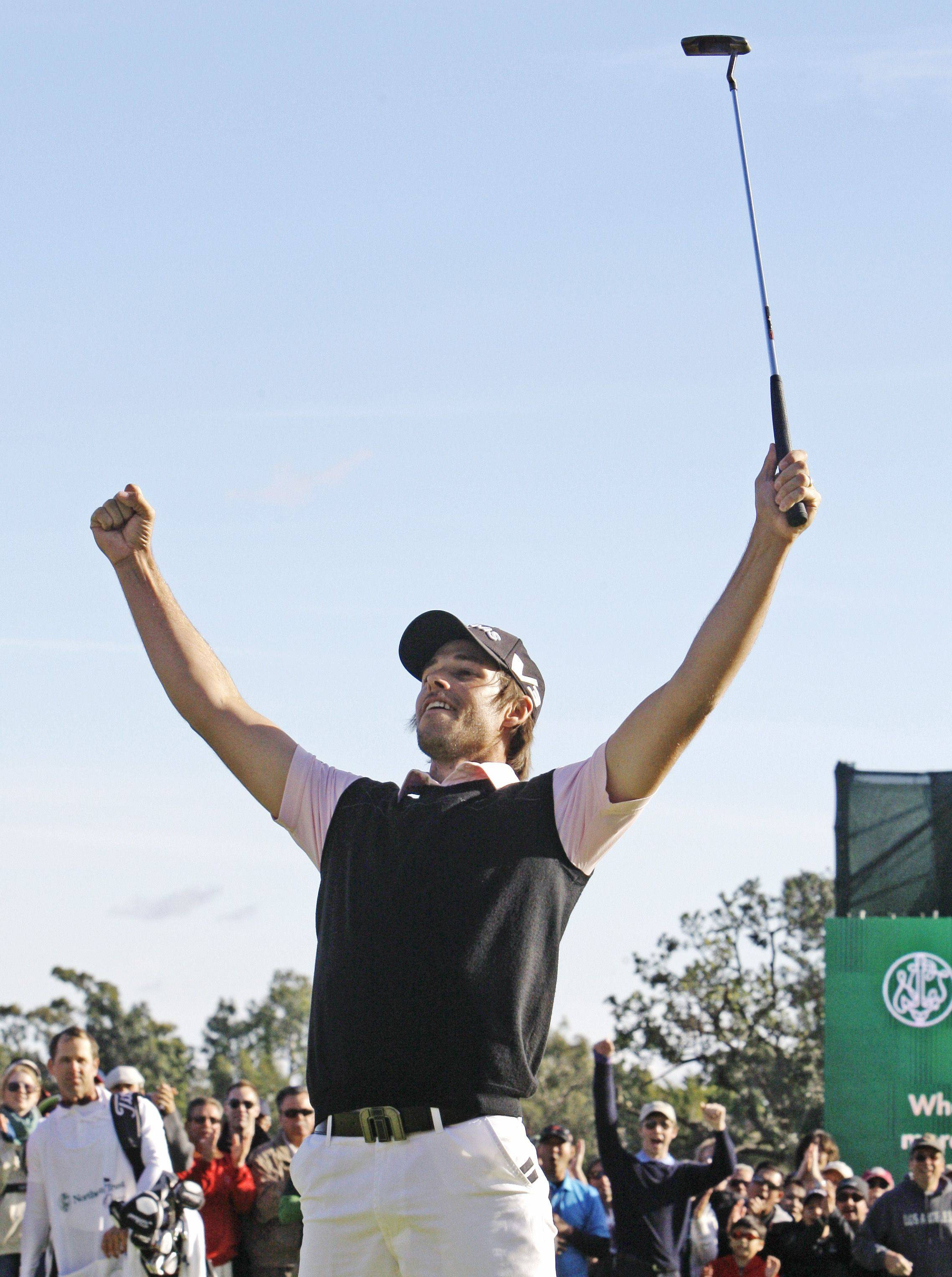 Aaron Baddeley celebrates winning the Northern Trust Open at Riviera Country Club in Los Angeles on Sunday.
